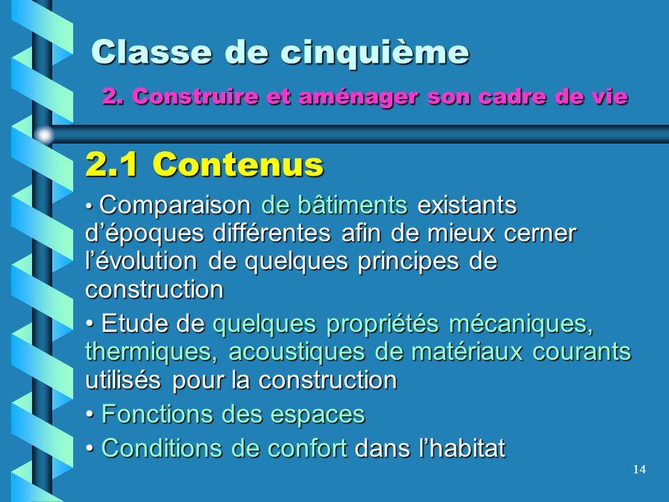 14 Classe de cinquième 2. Construire et aménager son cadre de vie 2.1 Contenus Comparaison de bâtiments existants dépoques différentes afin de mieux c