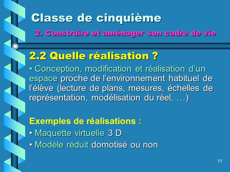 15 Classe de cinquième 2. Construire et aménager son cadre de vie 2.2 Quelle réalisation ? Conception, modification et réalisation dun espace proche d