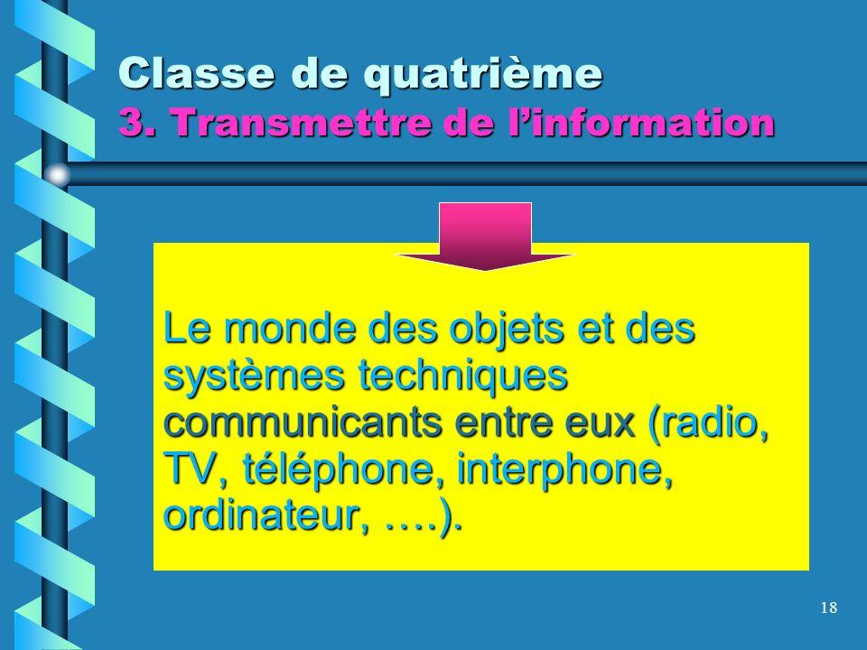 18 Classe de quatrième 3. Transmettre de linformation Le monde des objets et des systèmes techniques communicants entre eux (radio, TV, téléphone, int