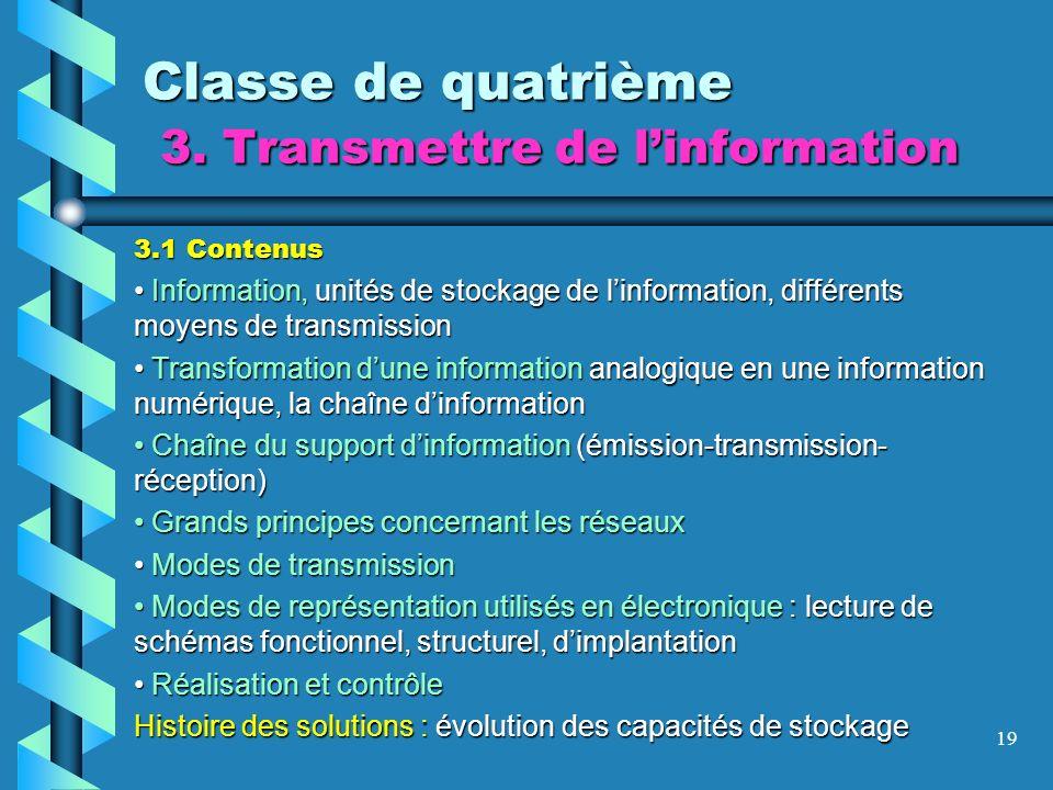 19 Classe de quatrième 3. Transmettre de linformation 3.1 Contenus Information, unités de stockage de linformation, différents moyens de transmission