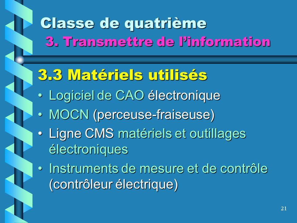 21 Classe de quatrième 3. Transmettre de linformation 3.3 Matériels utilisés Logiciel de CAO électroniqueLogiciel de CAO électronique MOCN (perceuse-f