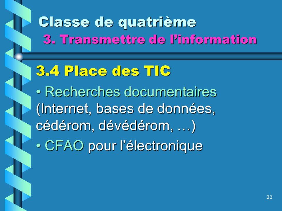 22 Classe de quatrième 3. Transmettre de linformation 3.4 Place des TIC Recherches documentaires (Internet, bases de données, cédérom, dévédérom, …) R