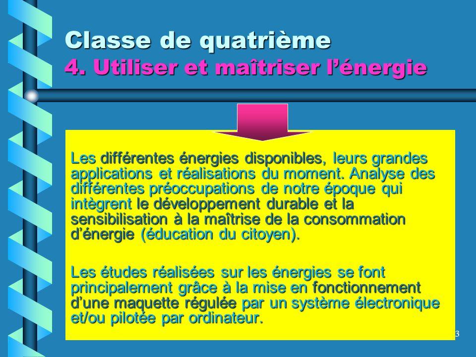 23 Classe de quatrième 4. Utiliser et maîtriser lénergie Les différentes énergies disponibles, leurs grandes applications et réalisations du moment. A