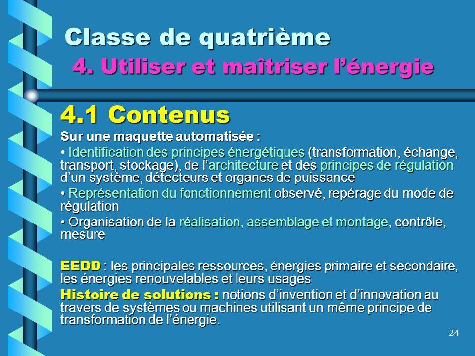 24 Classe de quatrième 4. Utiliser et maîtriser lénergie 4.1 Contenus Sur une maquette automatisée : Identification des principes énergétiques (transf