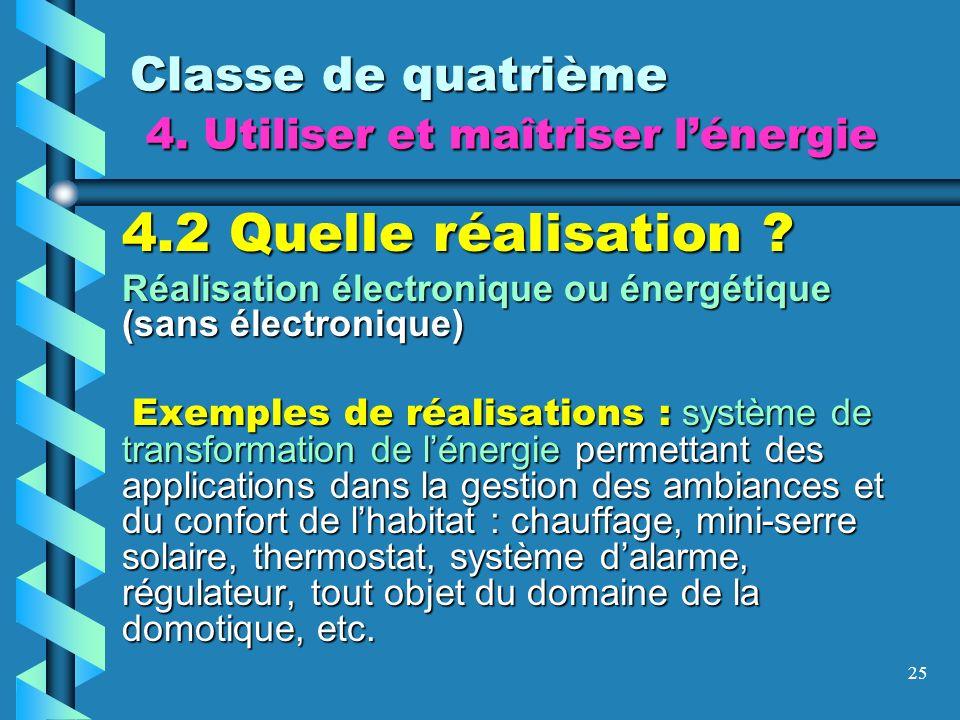 25 Classe de quatrième 4. Utiliser et maîtriser lénergie 4.2 Quelle réalisation ? Réalisation électronique ou énergétique (sans électronique) Exemples