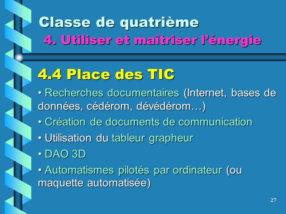 27 Classe de quatrième 4. Utiliser et maîtriser lénergie 4.4 Place des TIC Recherches documentaires (Internet, bases de données, cédérom, dévédérom…)