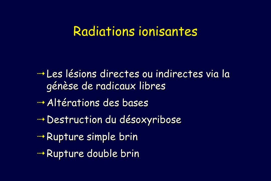 Les lésions directes ou indirectes via la génèse de radicaux libres Altérations des bases Destruction du désoxyribose Rupture simple brin Rupture double brin Les lésions directes ou indirectes via la génèse de radicaux libres Altérations des bases Destruction du désoxyribose Rupture simple brin Rupture double brin Radiations ionisantes