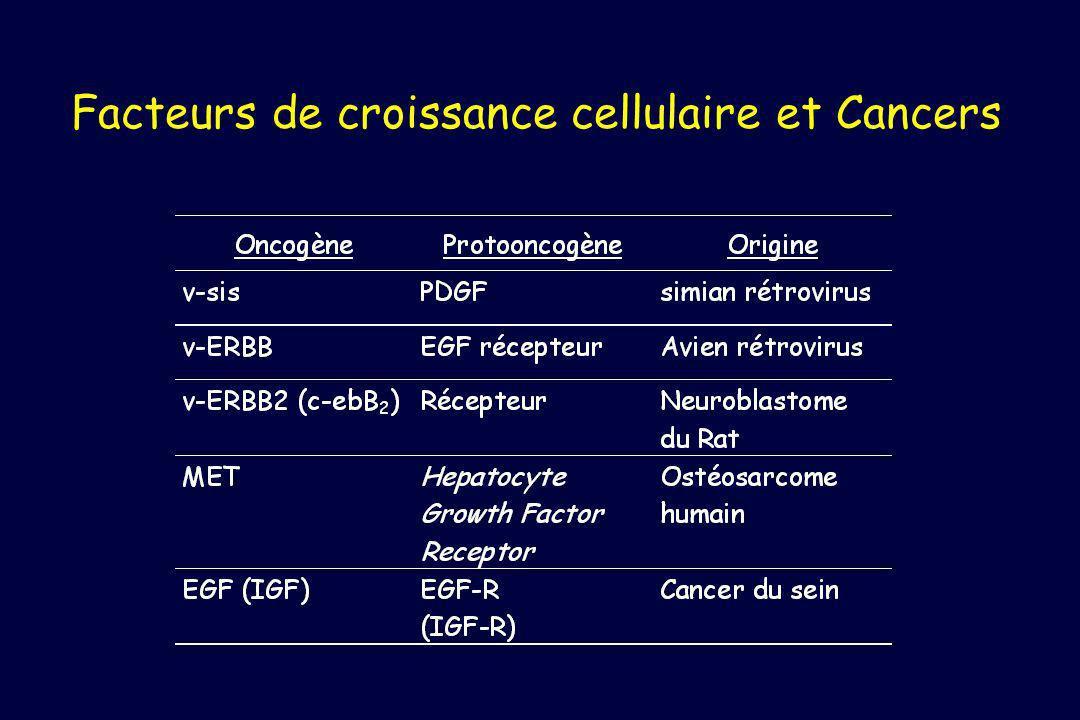 Facteurs de croissance cellulaire et Cancers