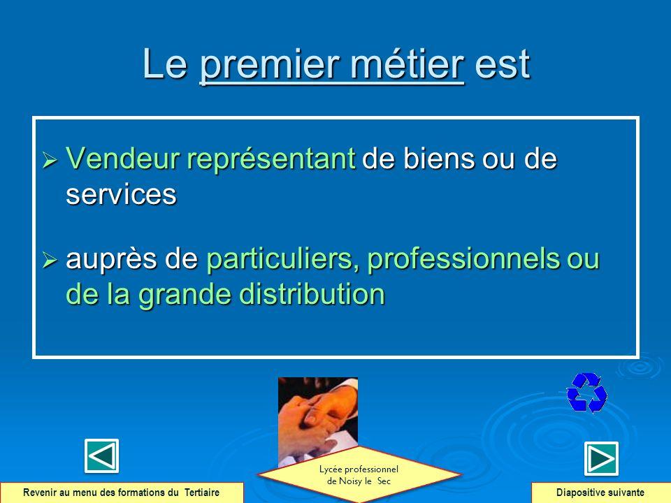 Le premier métier est Vendeur représentant de biens ou de services Vendeur représentant de biens ou de services auprès de particuliers, professionnels