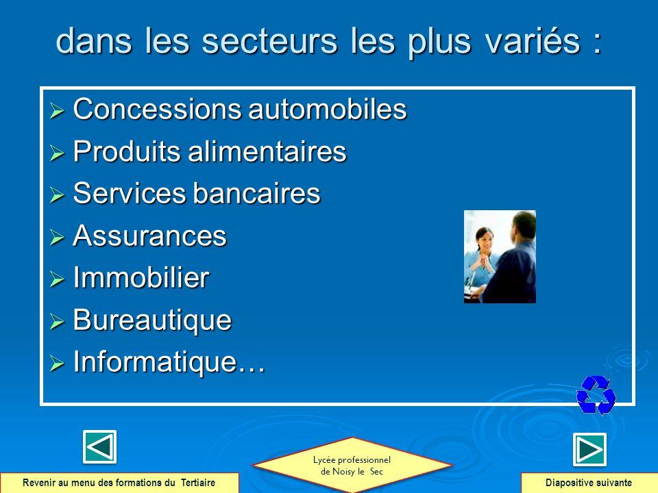 dans les secteurs les plus variés : Concessions automobiles Concessions automobiles Produits alimentaires Produits alimentaires Services bancaires Ser