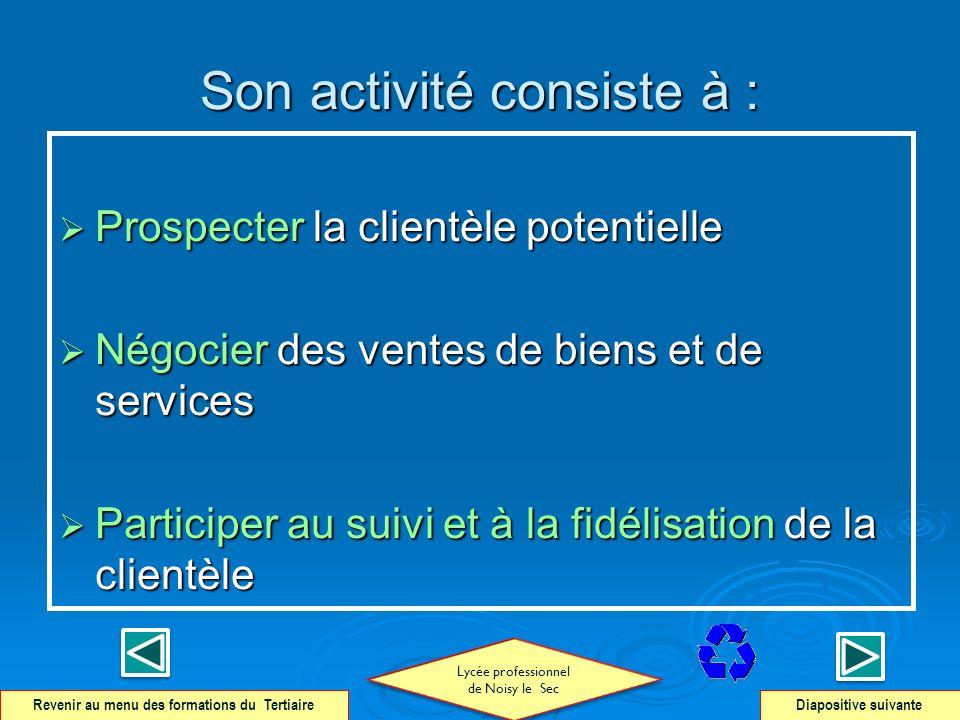 Son activité consiste à : Prospecter la clientèle potentielle Prospecter la clientèle potentielle Négocier des ventes de biens et de services Négocier