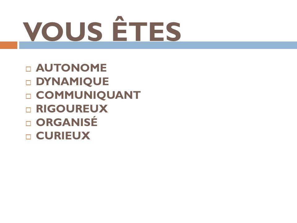 VOUS ÊTES AUTONOME DYNAMIQUE COMMUNIQUANT RIGOUREUX ORGANISÉ CURIEUX