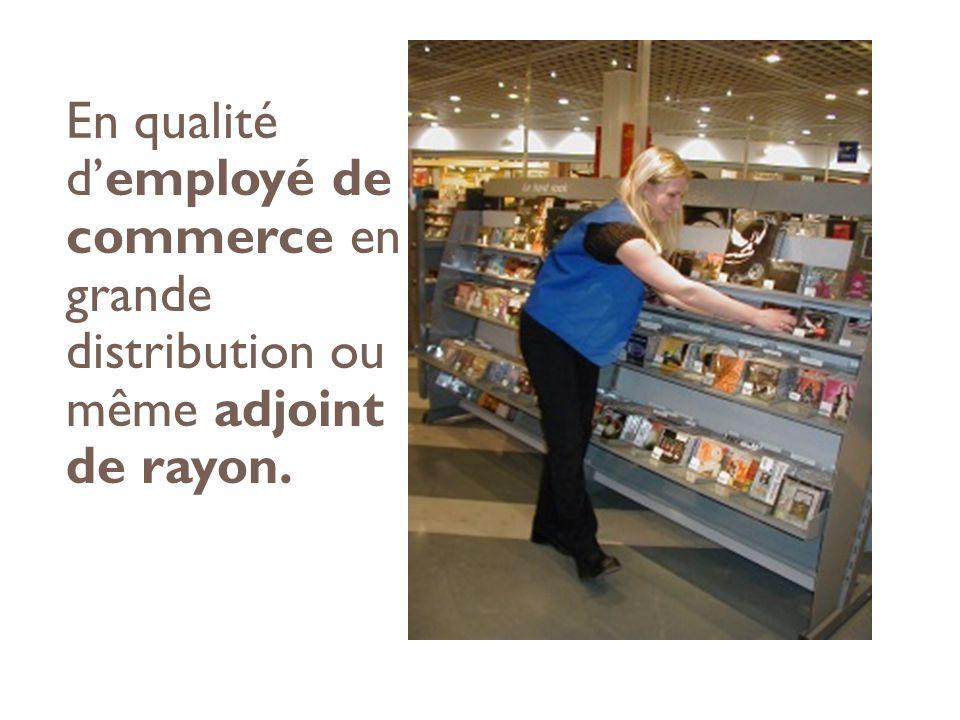 En qualité demployé de commerce en grande distribution ou même adjoint de rayon.