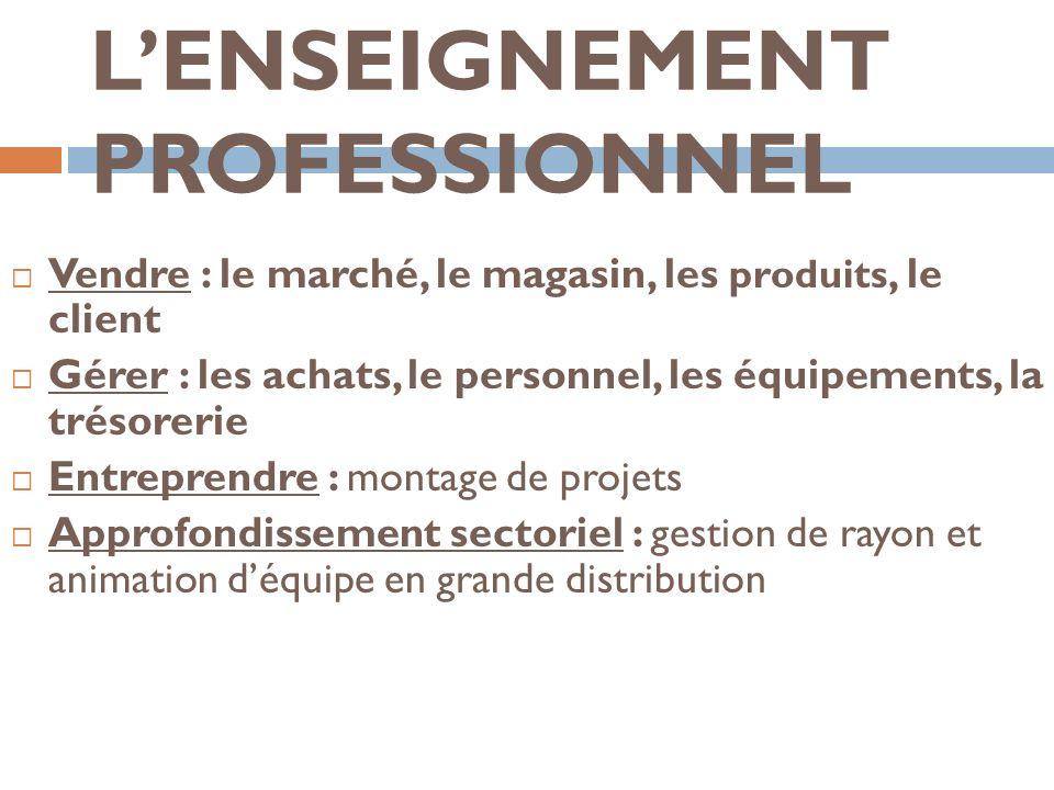 LENSEIGNEMENT PROFESSIONNEL Vendre : le marché, le magasin, les produits, le client Gérer : les achats, le personnel, les équipements, la trésorerie E
