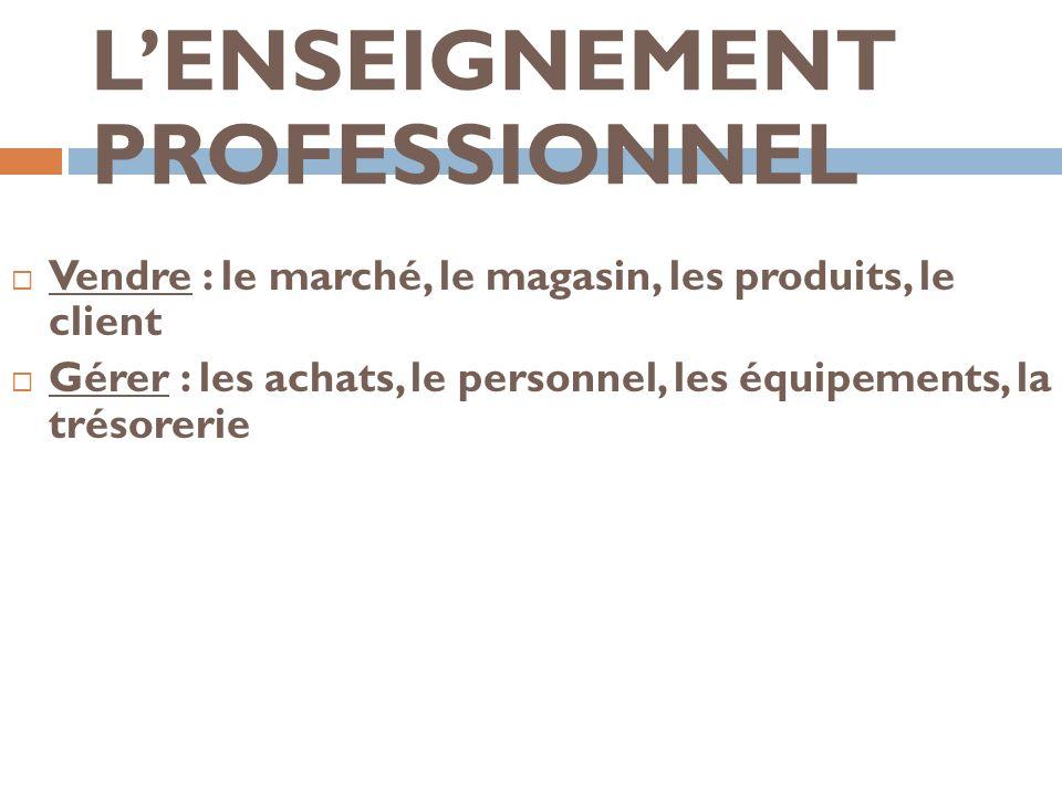 LENSEIGNEMENT PROFESSIONNEL Vendre : le marché, le magasin, les produits, le client Gérer : les achats, le personnel, les équipements, la trésorerie