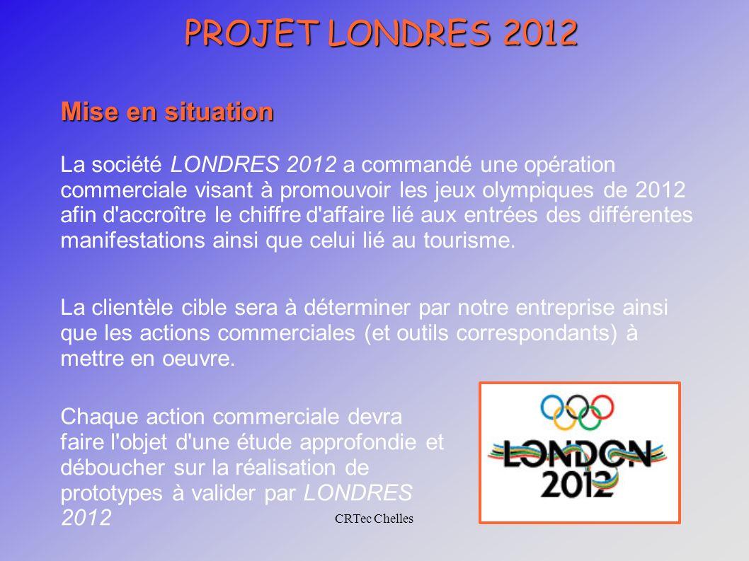 CRTec Chelles PROJET LONDRES 2012 Mise en situation La société LONDRES 2012 a commandé une opération commerciale visant à promouvoir les jeux olympiques de 2012 afin d accroître le chiffre d affaire lié aux entrées des différentes manifestations ainsi que celui lié au tourisme.
