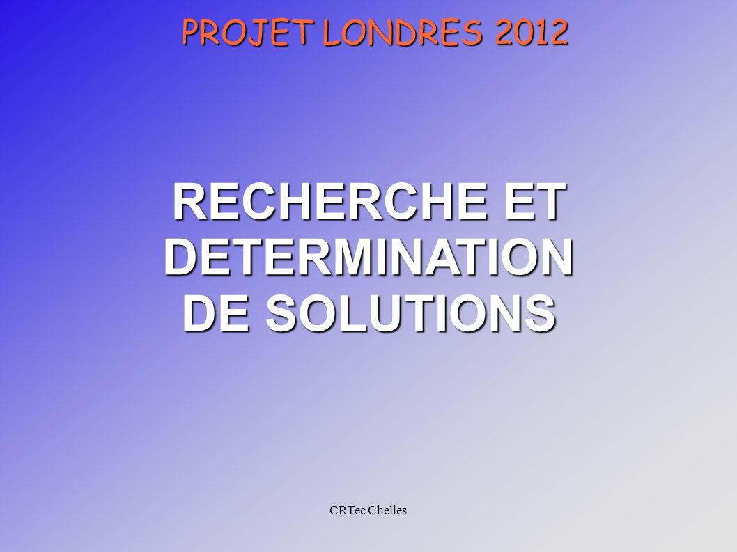 CRTec Chelles PROJET LONDRES 2012 RECHERCHE ET DETERMINATION DE SOLUTIONS