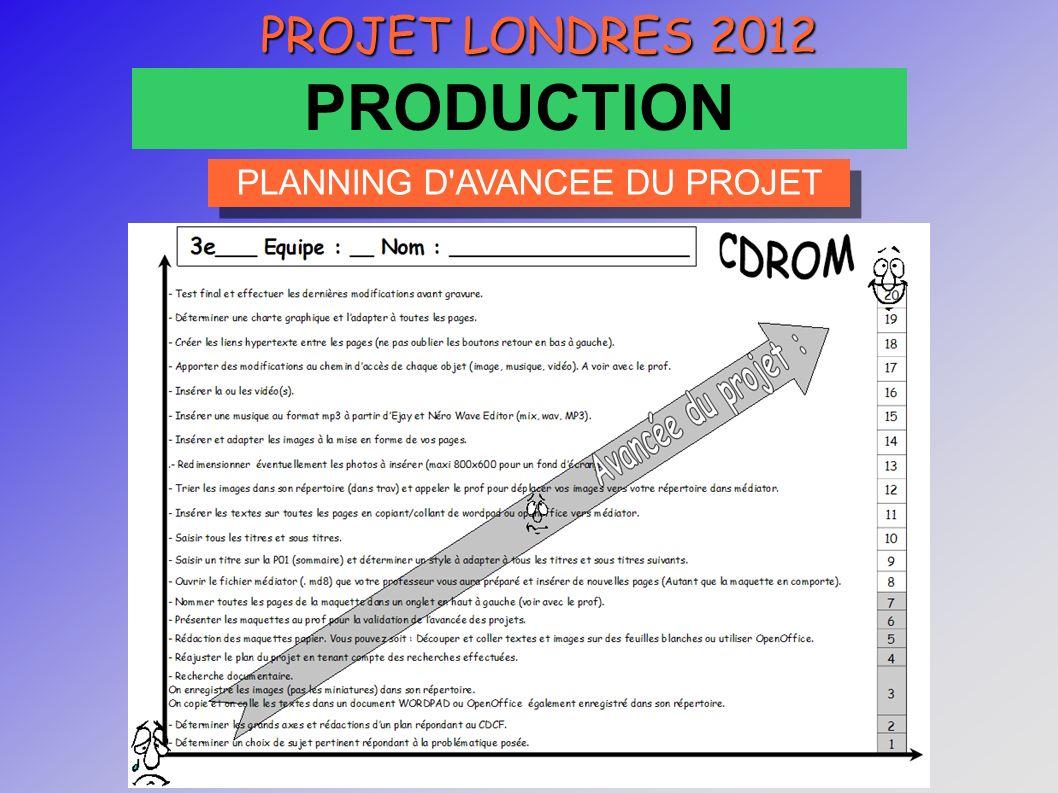 CRTec Chelles PROJET LONDRES 2012 PRODUCTION PLANNING D AVANCEE DU PROJET