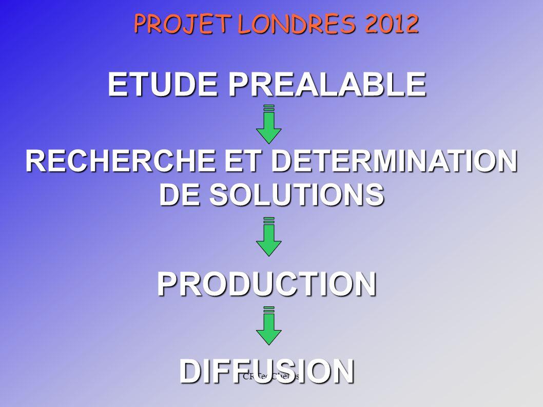 CRTec Chelles PROJET LONDRES 2012 ETUDE PREALABLE PRODUCTION RECHERCHE ET DETERMINATION DE SOLUTIONS DIFFUSION