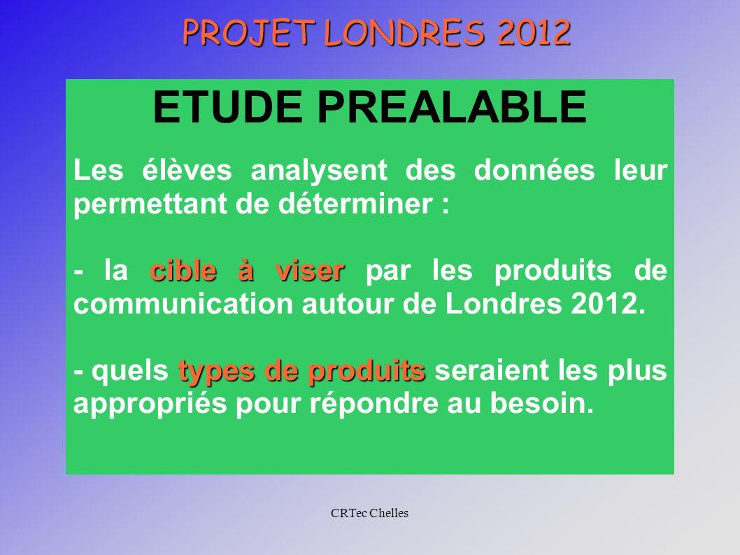 CRTec Chelles PROJET LONDRES 2012 ETUDE PREALABLE Les élèves analysent des données leur permettant de déterminer : cible à viser - la cible à viser pa