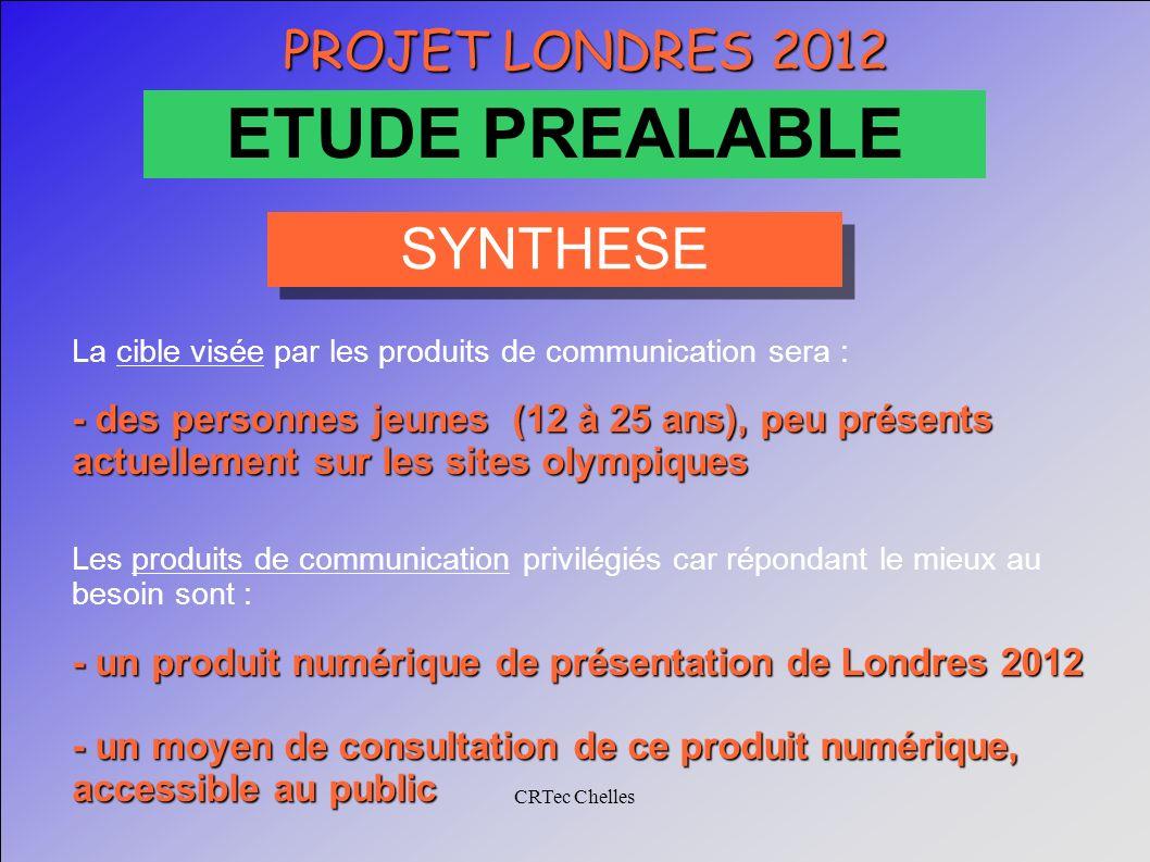 CRTec Chelles PROJET LONDRES 2012 ETUDE PREALABLE La cible visée par les produits de communication sera : - des personnes jeunes (12 à 25 ans), peu pr