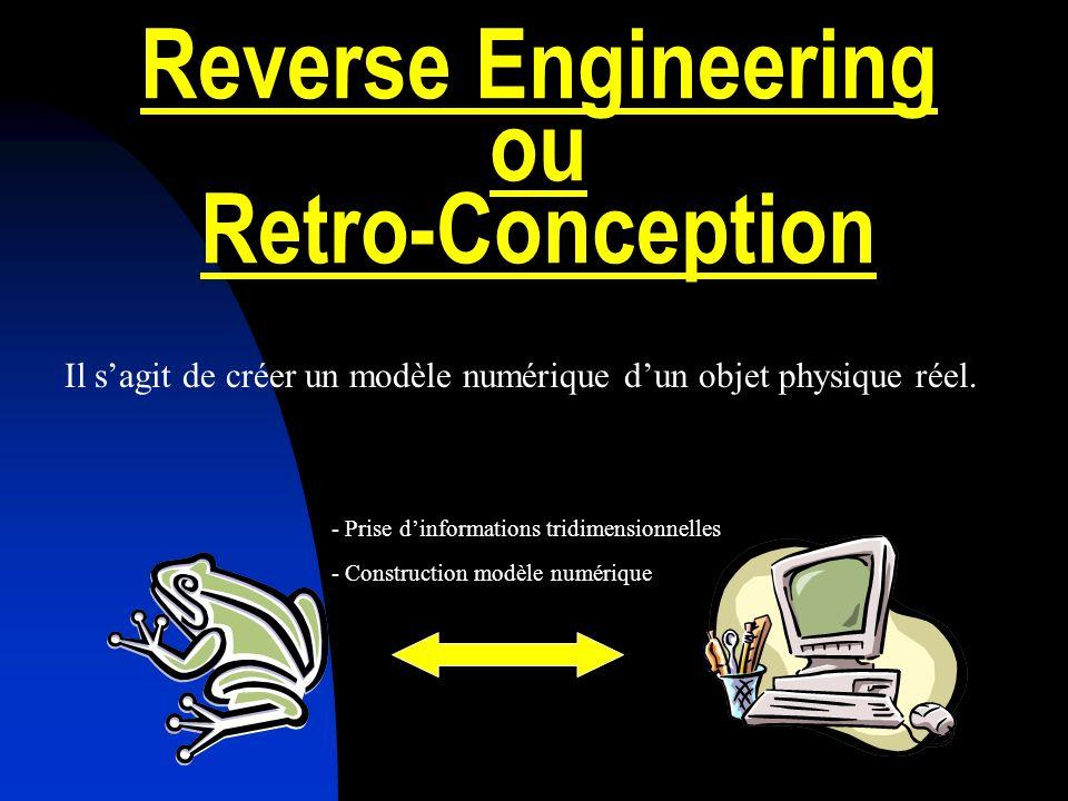 Reverse Engineering ou Retro-Conception Il sagit de créer un modèle numérique dun objet physique réel.