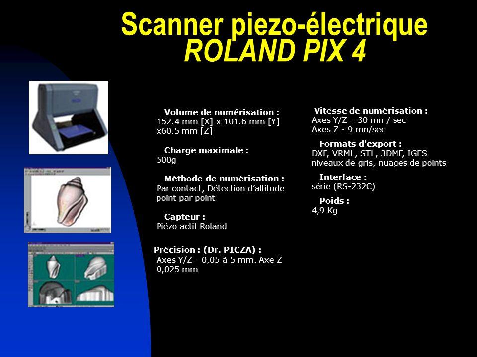 Scanner piezo-électrique ROLAND PIX 4 Volume de numérisation : 152.4 mm [X] x 101.6 mm [Y] x60.5 mm [Z] Charge maximale : 500g Méthode de numérisation : Par contact, Détection daltitude point par point Capteur : Piézo actif Roland Précision : (Dr.