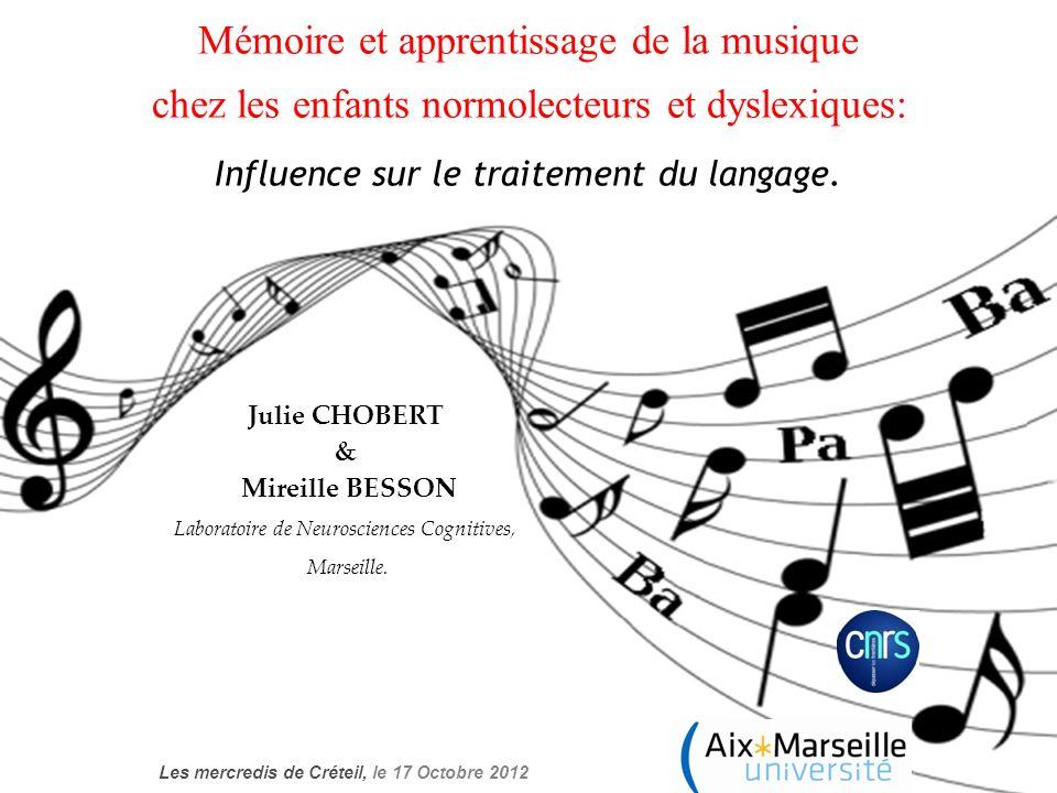 Mémoire et apprentissage de la musique chez les enfants normolecteurs et dyslexiques: Influence sur le traitement du langage. Julie CHOBERT & Mireille
