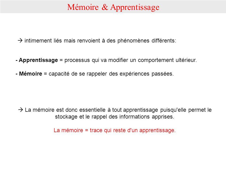 Mémoire & Apprentissage intimement liés mais renvoient à des phénomènes différents: - Apprentissage = processus qui va modifier un comportement ultéri