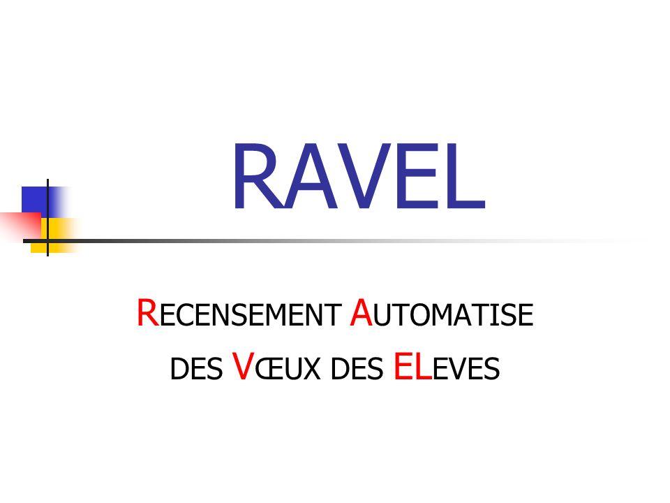 RAVEL R ECENSEMENT A UTOMATISE DES V ŒUX DES EL EVES