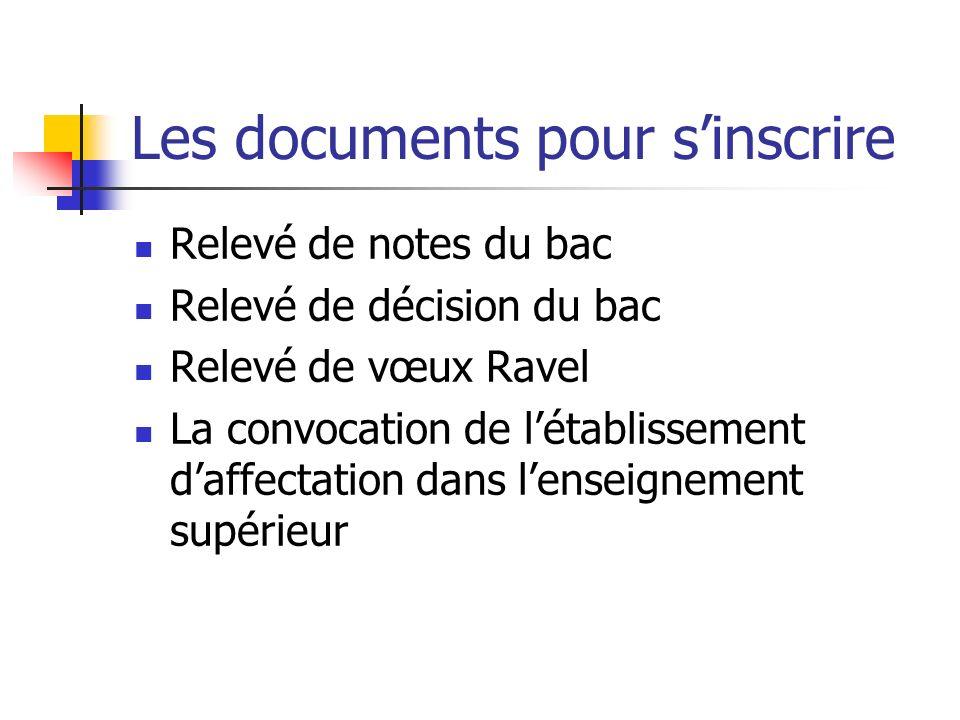 Les documents pour sinscrire Relevé de notes du bac Relevé de décision du bac Relevé de vœux Ravel La convocation de létablissement daffectation dans