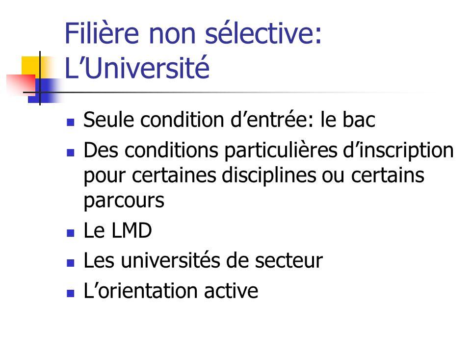 Filière non sélective: LUniversité Seule condition dentrée: le bac Des conditions particulières dinscription pour certaines disciplines ou certains pa
