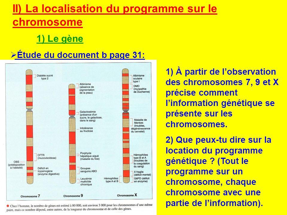 II) La localisation du programme sur le chromosome 1) Le gène Étude du document b page 31: 1) À partir de lobservation des chromosomes 7, 9 et X préci