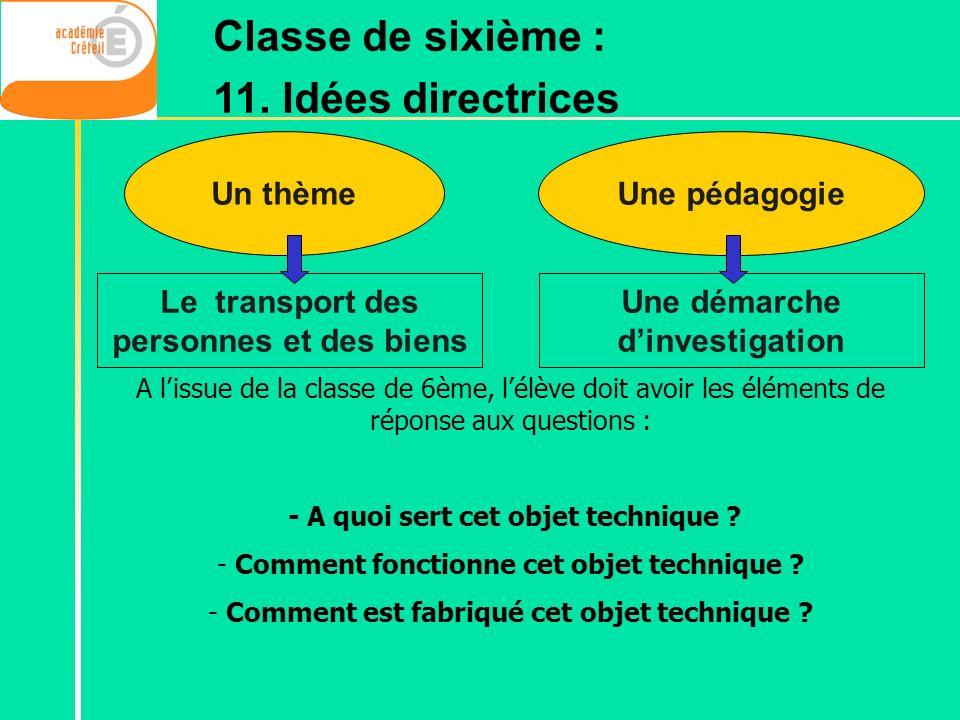 Un thème A lissue de la classe de 6ème, lélève doit avoir les éléments de réponse aux questions : - A quoi sert cet objet technique ? - Comment foncti