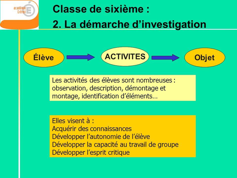 ÉlèveObjet ACTIVITES Les activités des élèves sont nombreuses : observation, description, démontage et montage, identification déléments… Elles visent