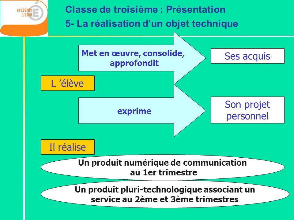 Un produit numérique de communication au 1er trimestre Un produit pluri-technologique associant un service au 2ème et 3ème trimestres Classe de troisi