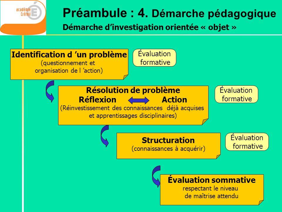 Structuration (connaissances à acquérir) Évaluation formative Identification d un problème (questionnement et organisation de l action) Résolution de