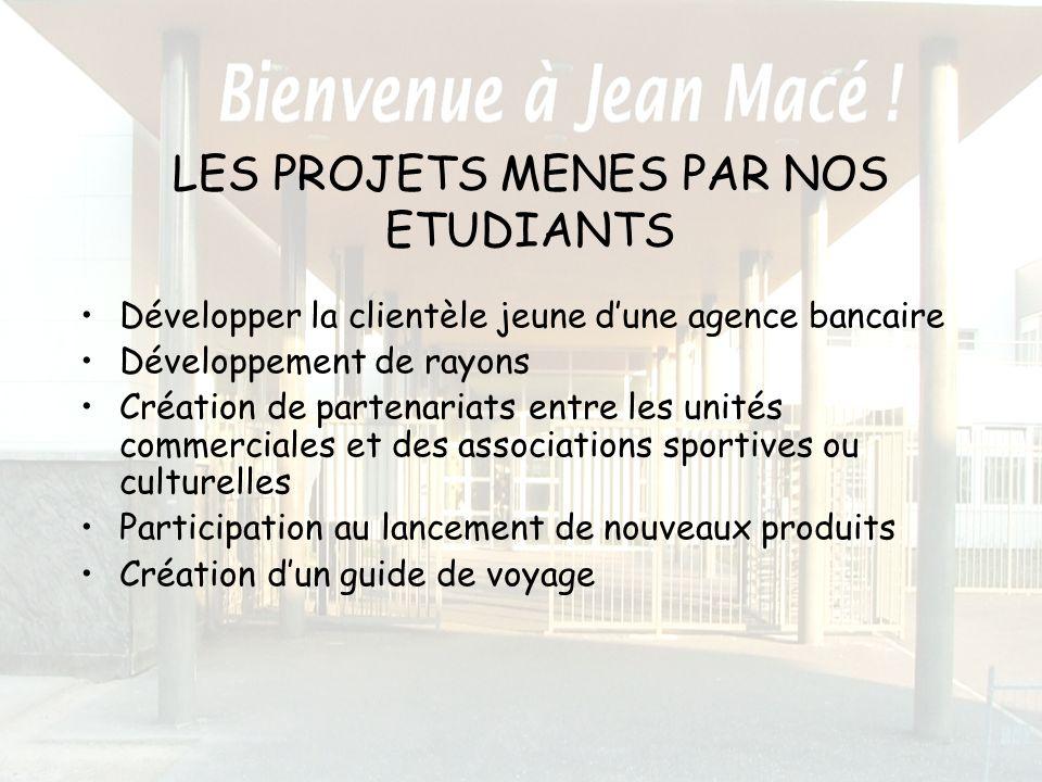 LES PROJETS MENES PAR NOS ETUDIANTS Développer la clientèle jeune dune agence bancaire Développement de rayons Création de partenariats entre les unit
