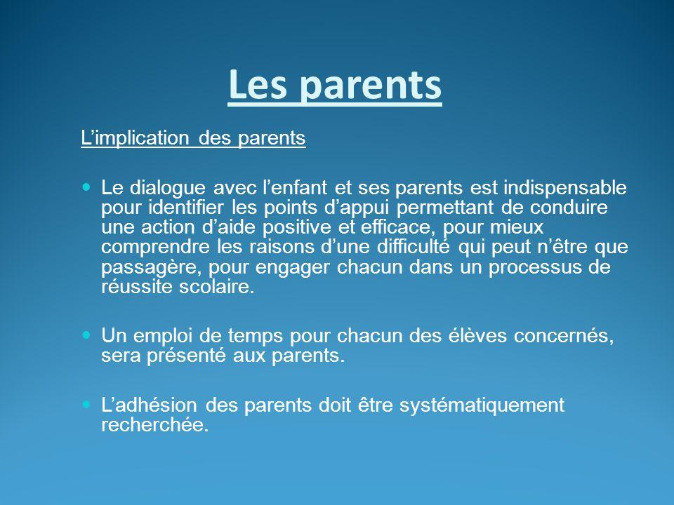 Les parents Limplication des parents Le dialogue avec lenfant et ses parents est indispensable pour identifier les points dappui permettant de conduir