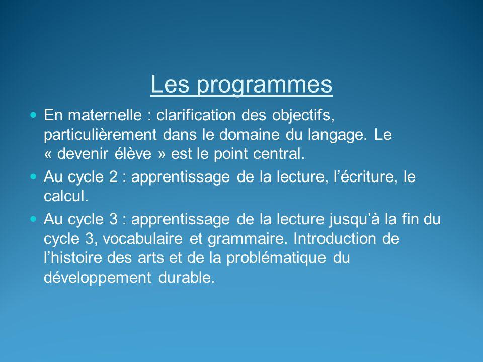 Les programmes En maternelle : clarification des objectifs, particulièrement dans le domaine du langage. Le « devenir élève » est le point central. Au