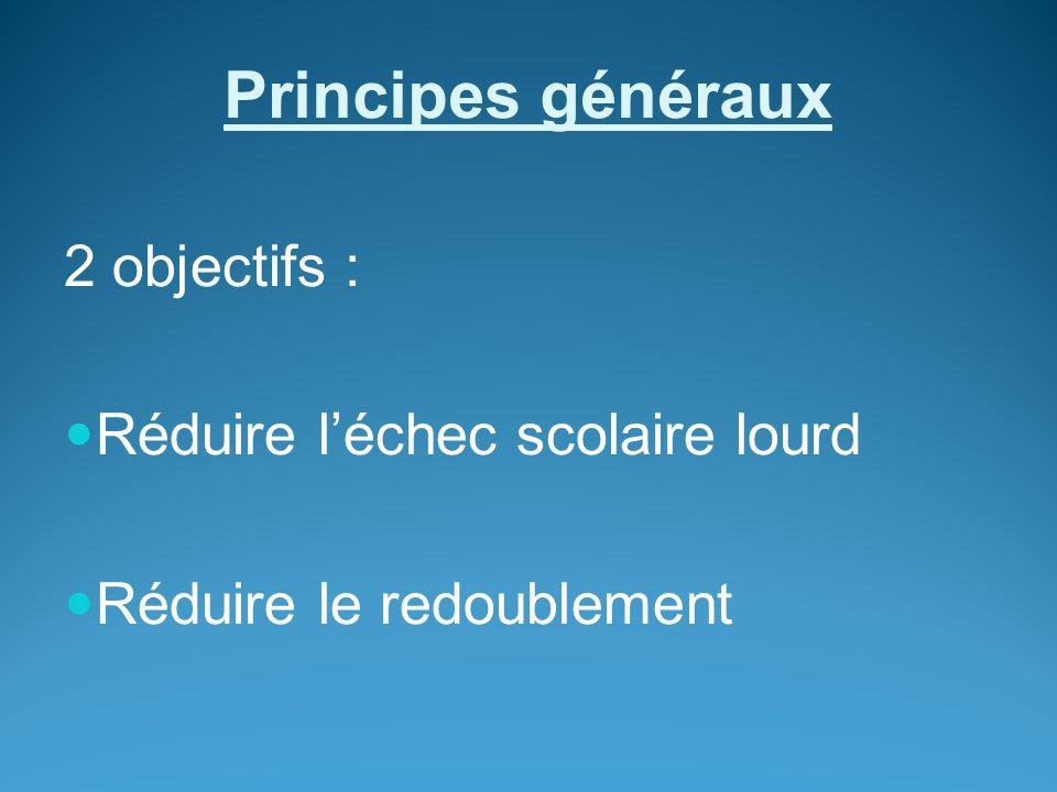 Principes généraux 2 objectifs : Réduire léchec scolaire lourd Réduire le redoublement