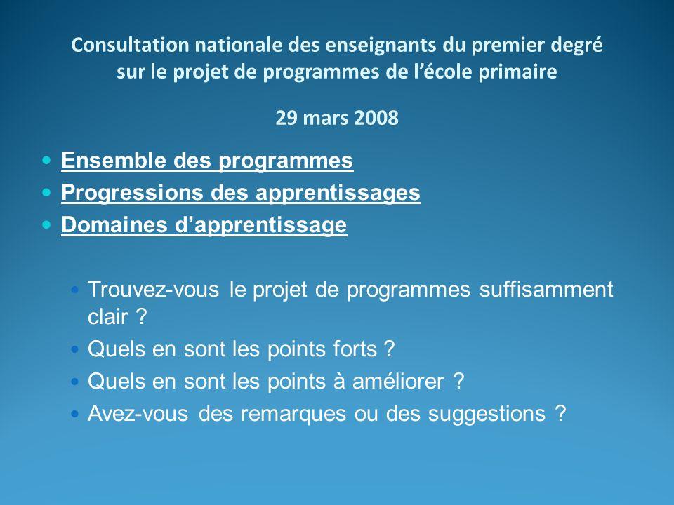 Consultation nationale des enseignants du premier degré sur le projet de programmes de lécole primaire 29 mars 2008 Ensemble des programmes Progressio