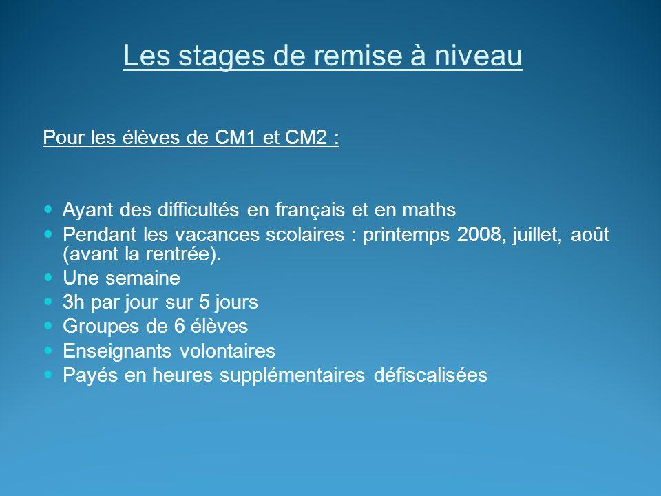 Les stages de remise à niveau Pour les élèves de CM1 et CM2 : Ayant des difficultés en français et en maths Pendant les vacances scolaires : printemps 2008, juillet, août (avant la rentrée).