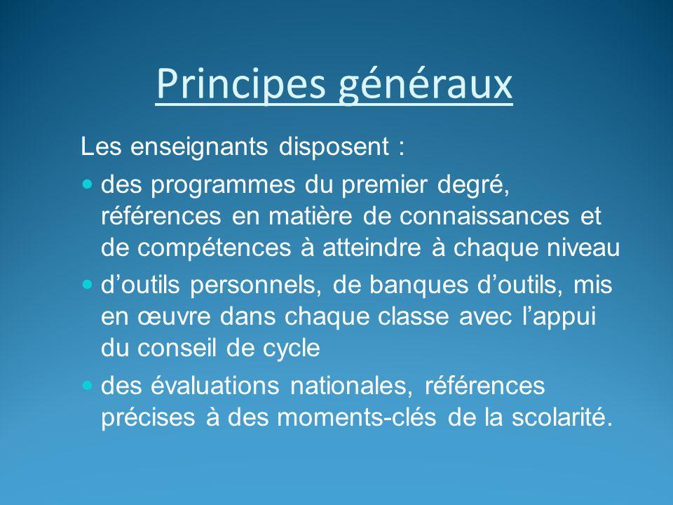 Principes généraux Les enseignants disposent : des programmes du premier degré, références en matière de connaissances et de compétences à atteindre à