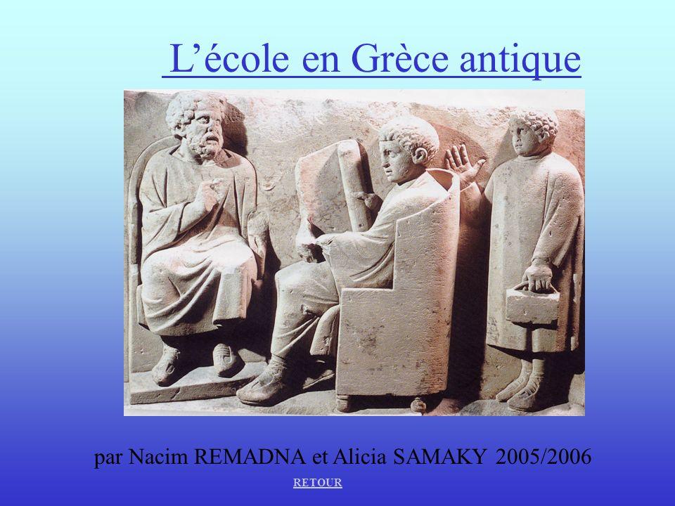 Lécole en Grèce antique par Nacim REMADNA et Alicia SAMAKY 2005/2006 RETOUR