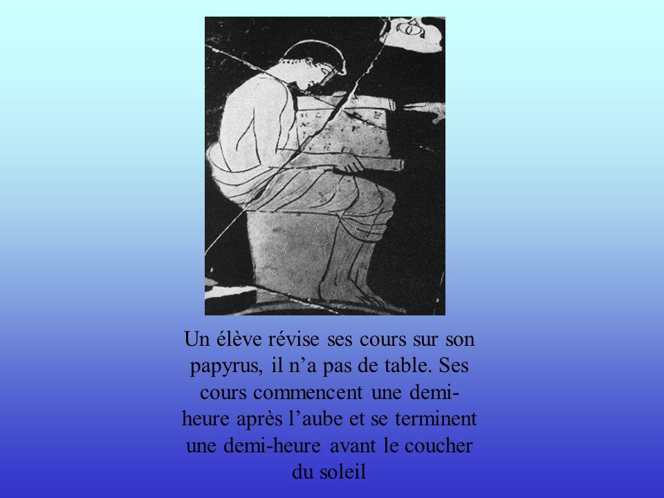 Les écoliers sexercent à écrire sur des tablettes de bois, dont la surface est creusée puis garnie de cire, sur laquelle ils tracent des lettres à laide dun stylet (petit bâton) en os ou en métal.