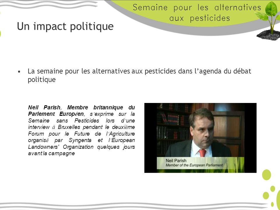 Un impact politique La semaine pour les alternatives aux pesticides dans lagenda du débat politique Neil Parish, Membre britannique du Parlement Europ