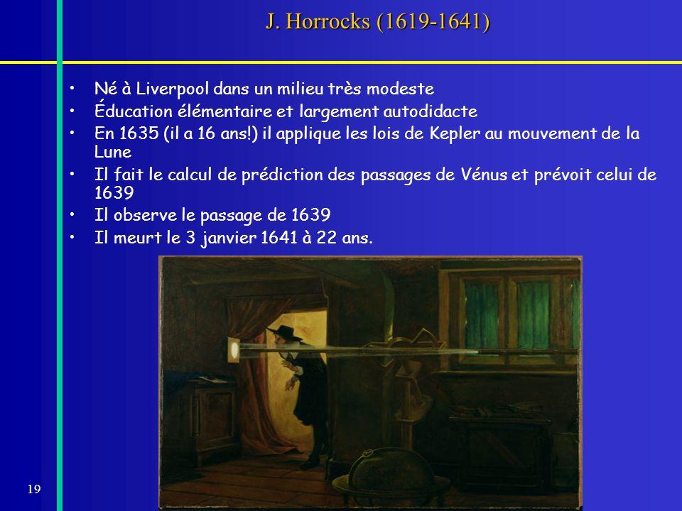 20 Les observations dHorrocks (Venus in Sole Visa) Il effectue trois mesures à la hâte avant le coucher du Soleil tdistance ( ) 3h15864 3h35810 3h45780 3h50Coucher Diamètre de Vénus: 1 16 Un vitrail de léglise de son village rappelle son observation