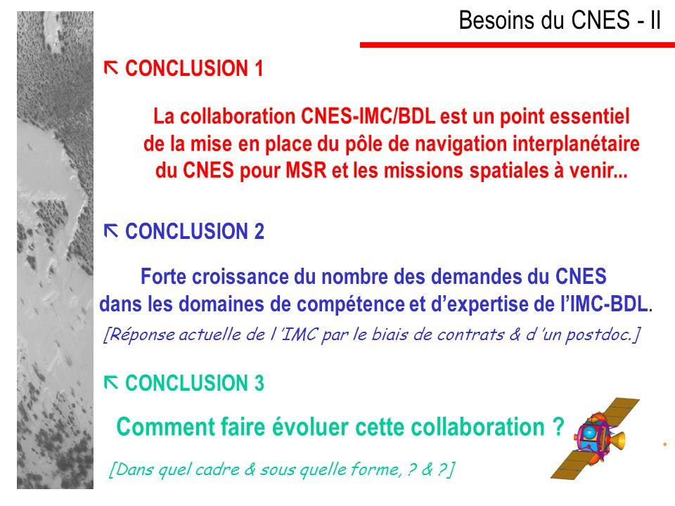CONCLUSION 1 Besoins du CNES - II La collaboration CNES-IMC/BDL est un point essentiel de la mise en place du pôle de navigation interplanétaire du CNES pour MSR et les missions spatiales à venir...