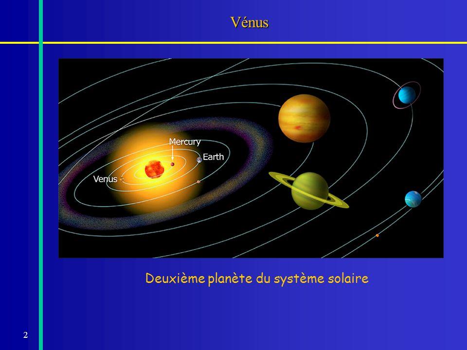 3 La planète Vénus Demi-grand axe : ~0,72 UA (108,2 millions de km).